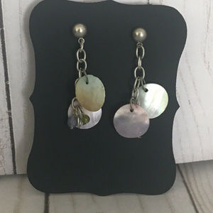 Jewelry - Silver Plated Shell And Beaded Dangle Earrings